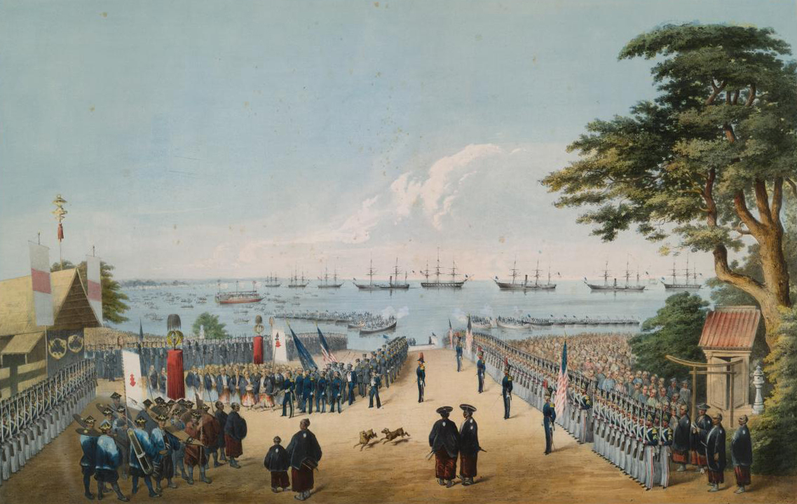 Painting showing Commodore Perry's 2nd visit to Japan in 1854