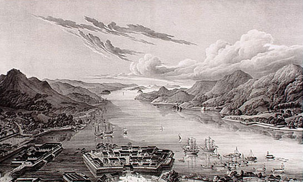 Nagasaki Bay and Dejima island c1890