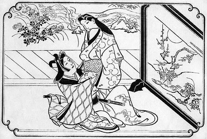 An example of Shunga, Shunga are a form of erotic imagery by Moronobu