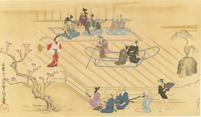 The Sumida Gawa, imagery derived from theatrical performance by Moronobu