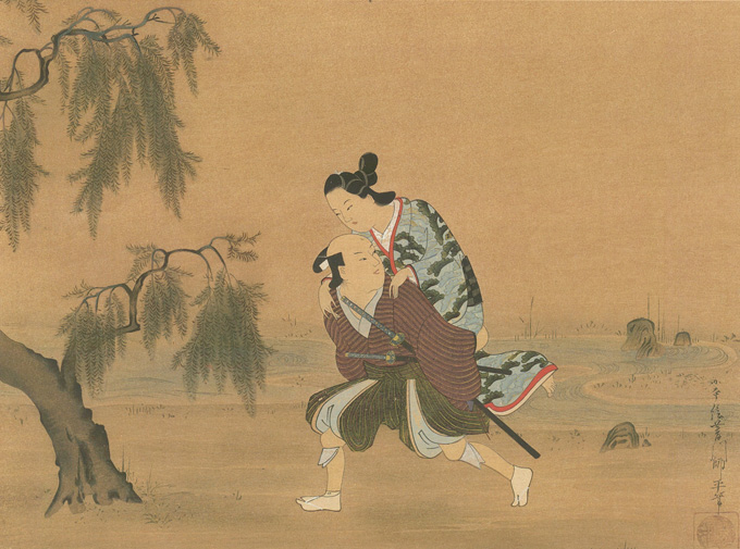 A youth carrying a lady, a painting on silk by Moronobu
