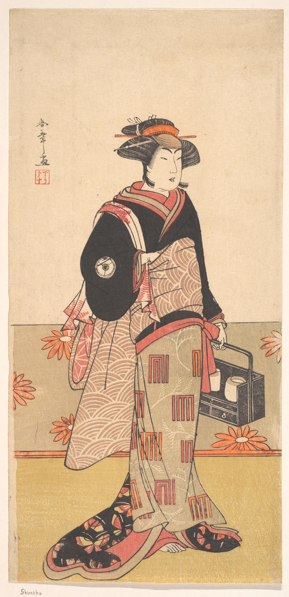 The Actor Iwai Hanshiro IV as a Woman in a Black Kimono by Shunsho