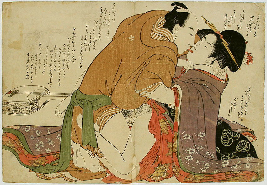 Ukiyo-e woodblock print depicting two lovers an example of Shunga erotic art
